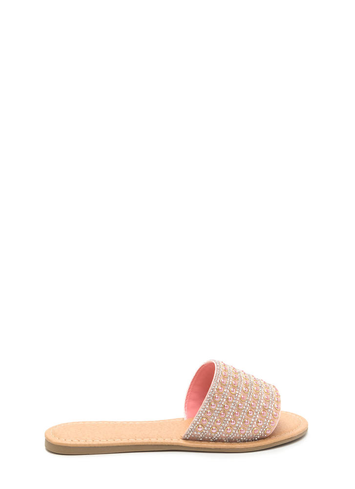 Bedazzled Beauty Jeweled Slide Sandals PEACH