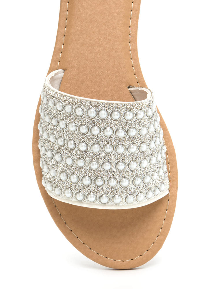 Bedazzled Beauty Jeweled Slide Sandals WHITE