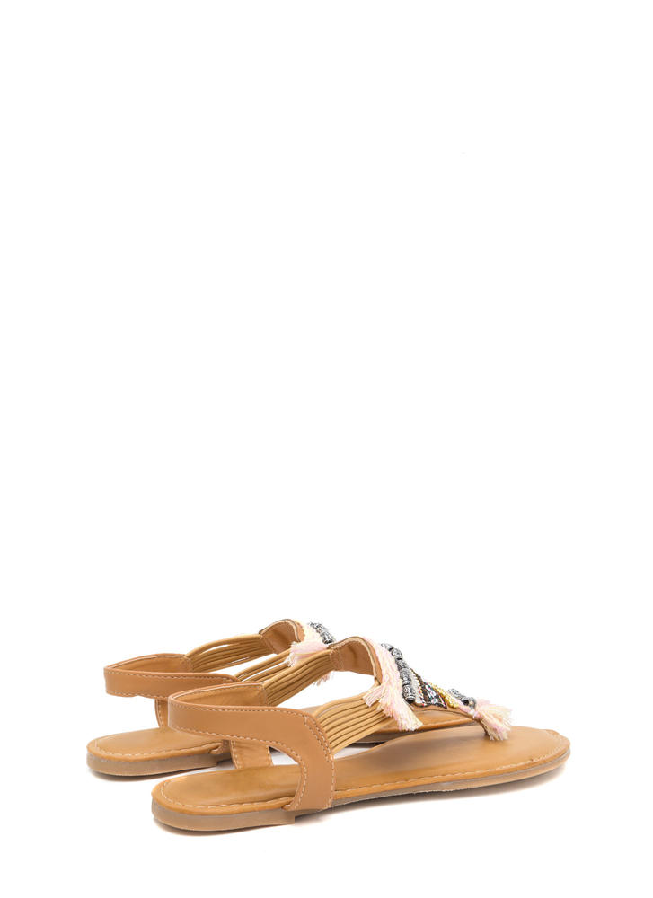 Best Of The Fest Beaded T-Strap Sandals NATURAL