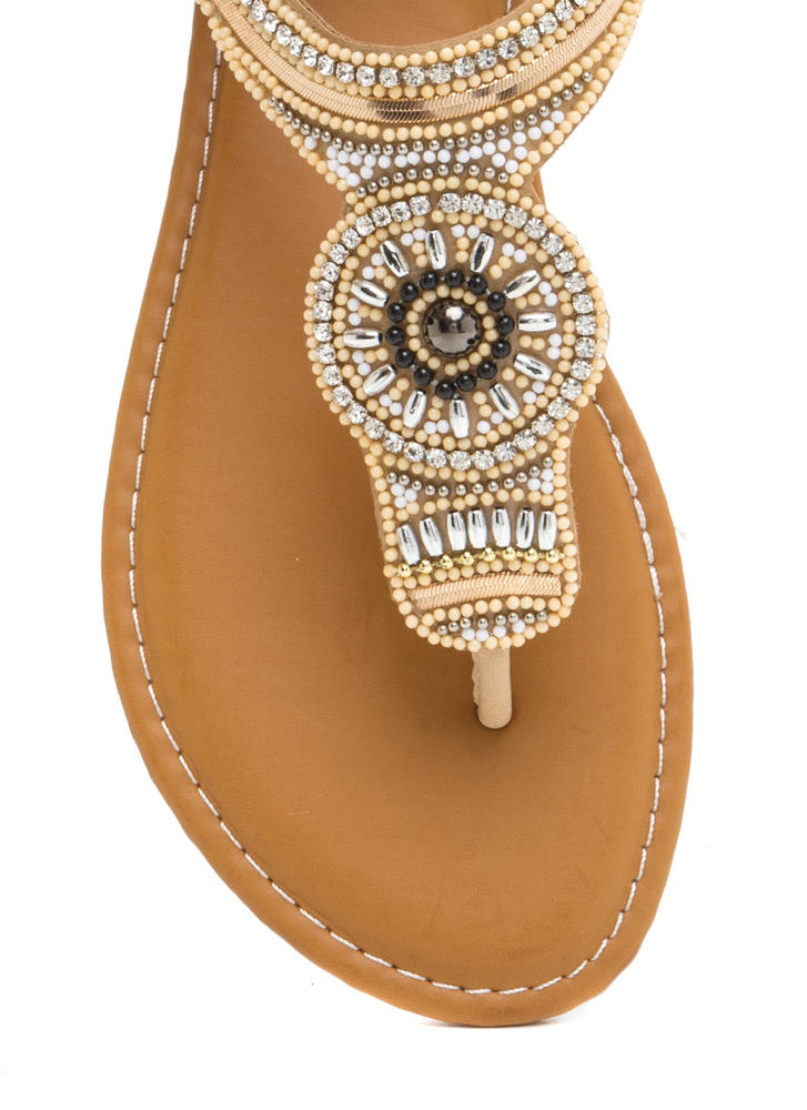 Bead Us To It Glitzy T-Strap Sandals NATURAL