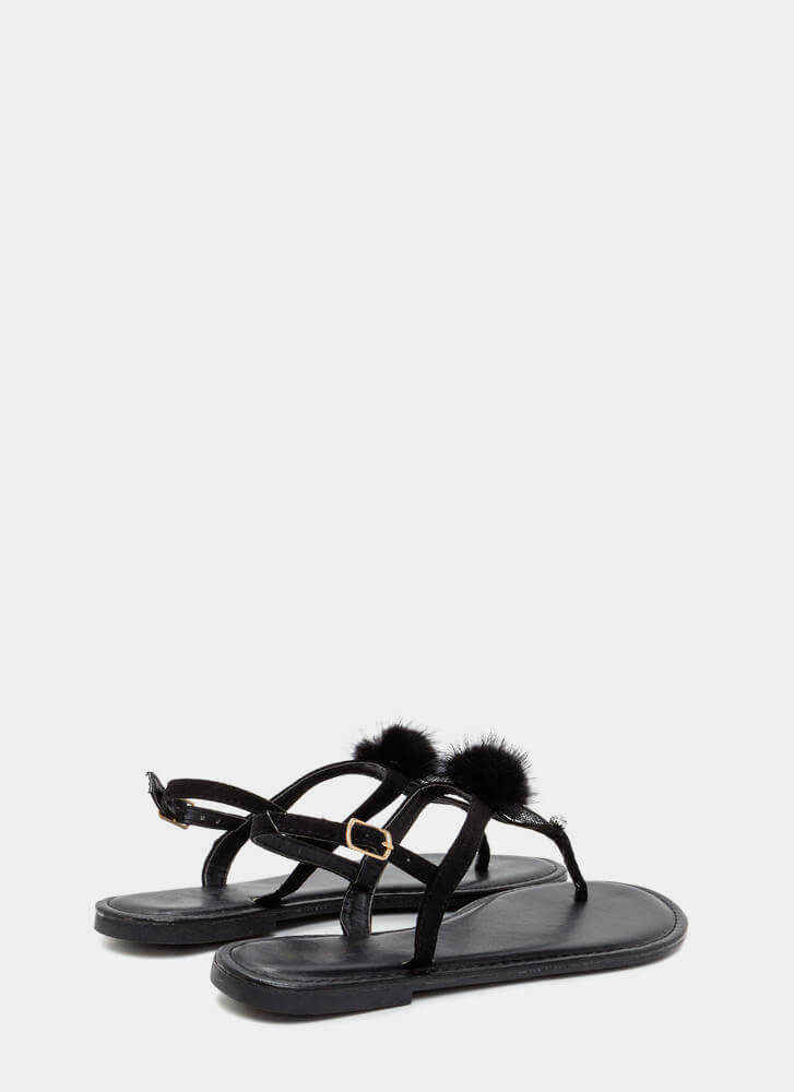Fuzz-worthy Pom-Pom T-Strap Sandals BLACK