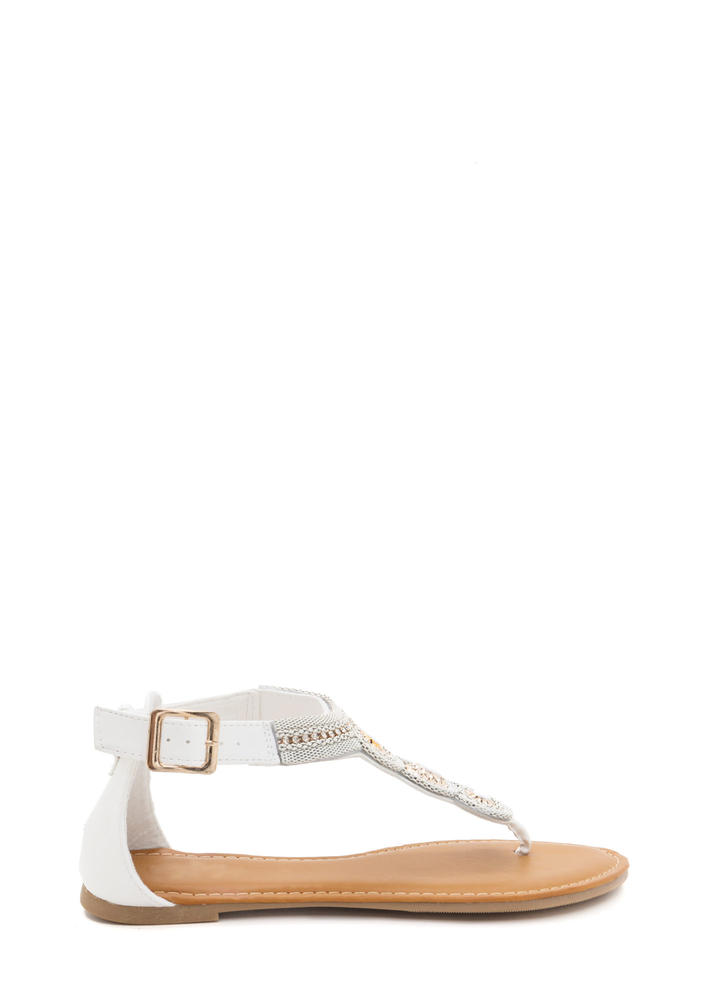 Stone Age Embellished T-Strap Sandals WHITE