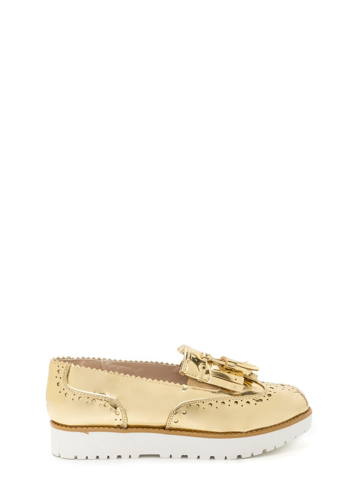 Wildest Gleam Metallic Platform Loafers GOLD
