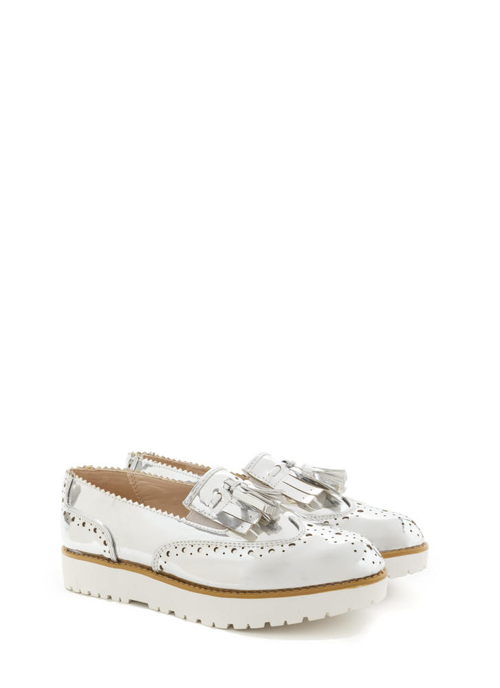 Wildest Gleam Metallic Platform Loafers SILVER