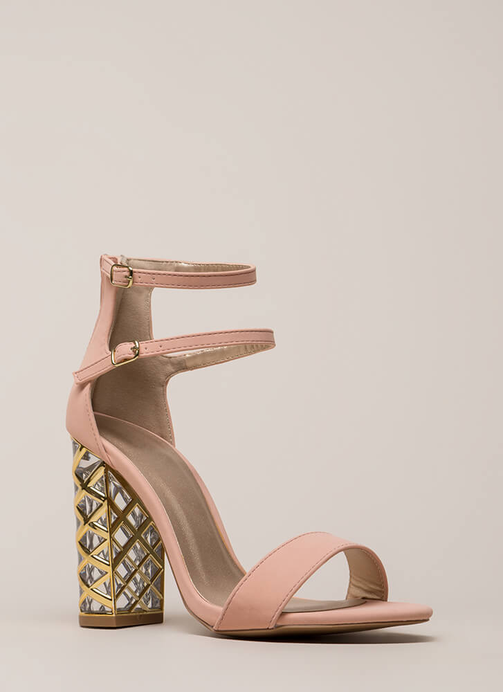 Lattice Start Chunky Strappy Clear Heels SOFTBLUSH