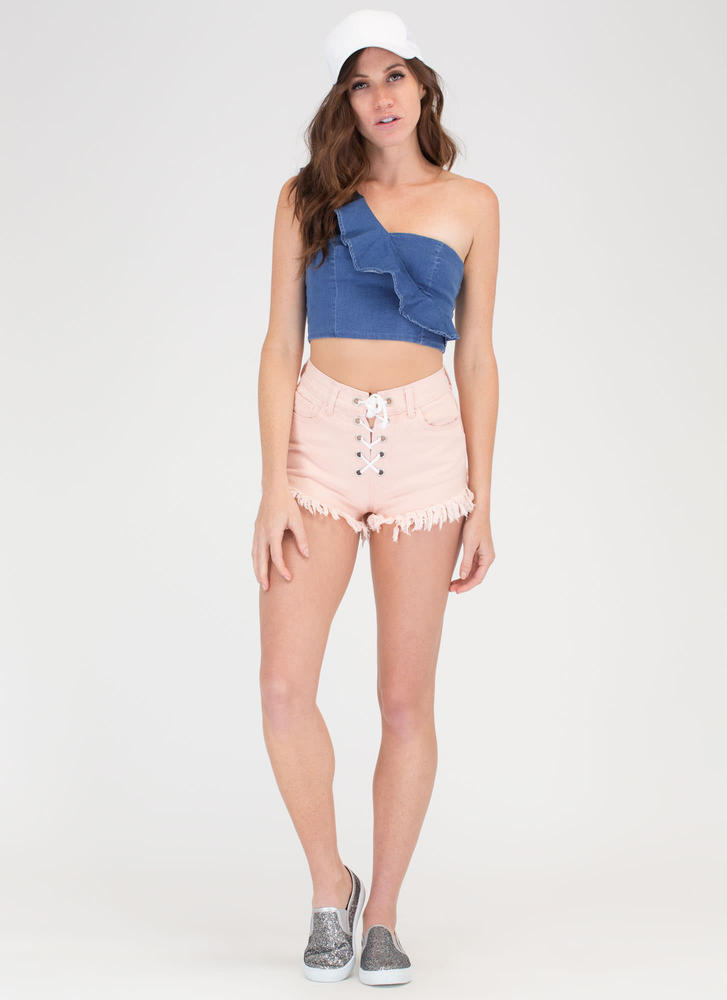 Just Fray Along Lace-Up Denim Shorts PINK