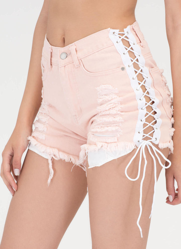 No Stress Distressed Lace-Up Shorts PINK