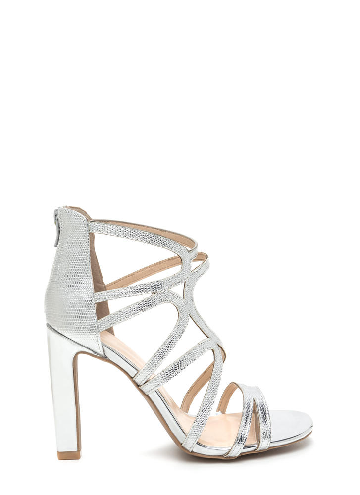 Glisten Up Textured Caged Heels SILVER