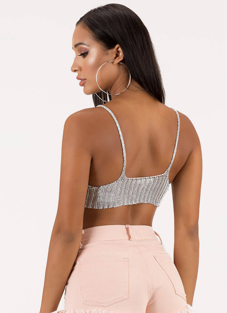 Out Shine Metallic Knit Crop Top SILVER