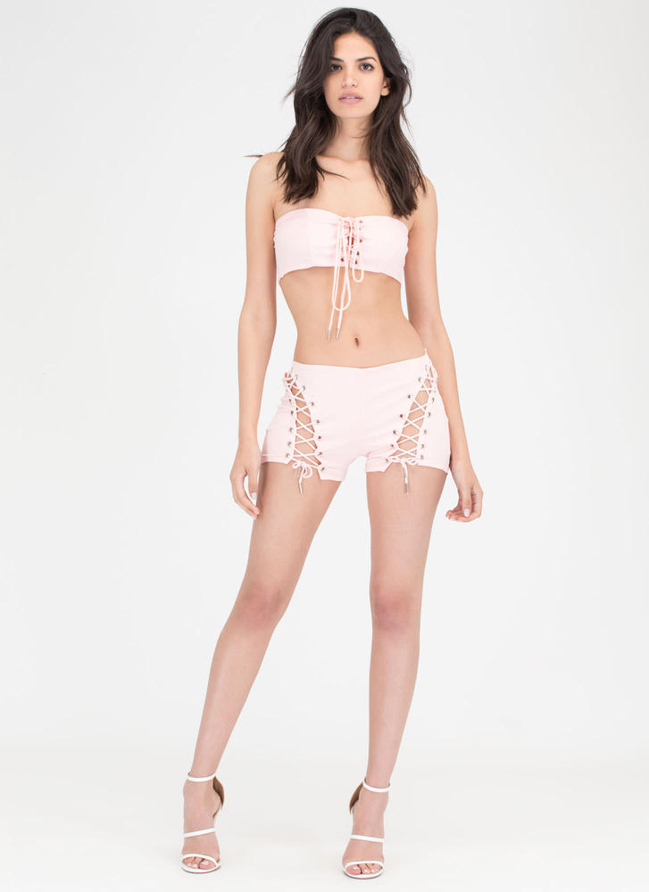 Bare It All Lace-Up Top 'N Shorts Set PINK