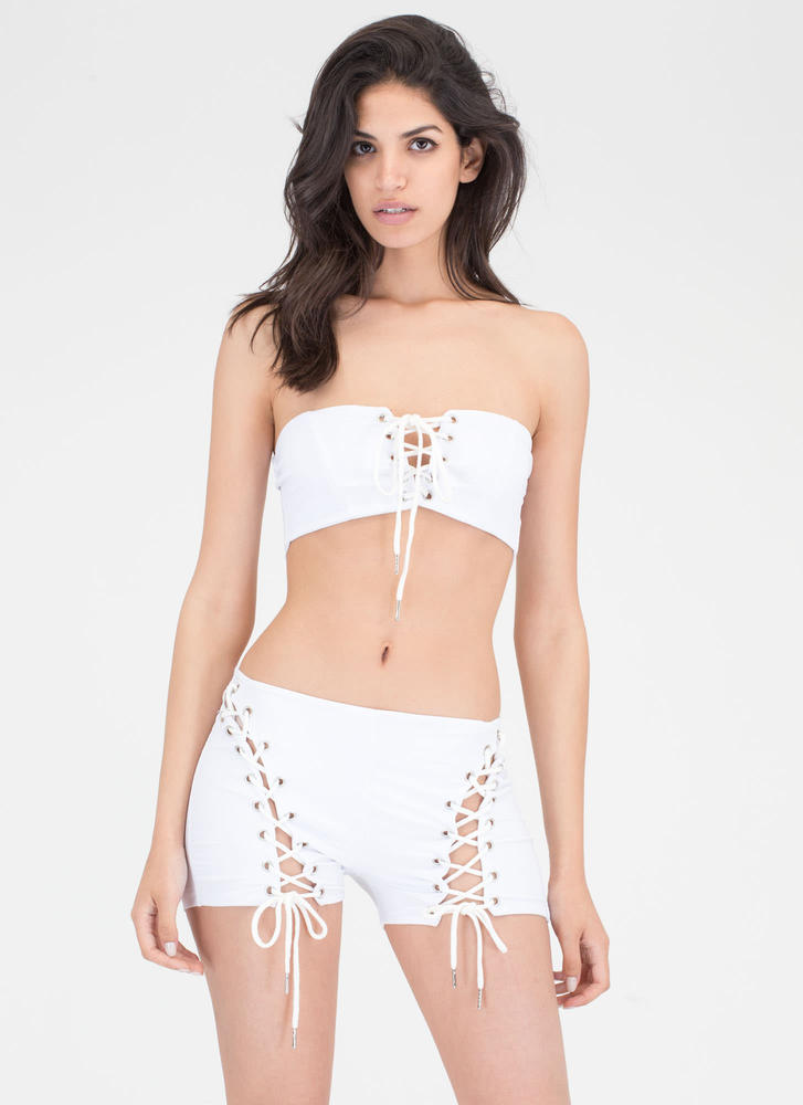 Bare It All Lace-Up Top 'N Shorts Set WHITE