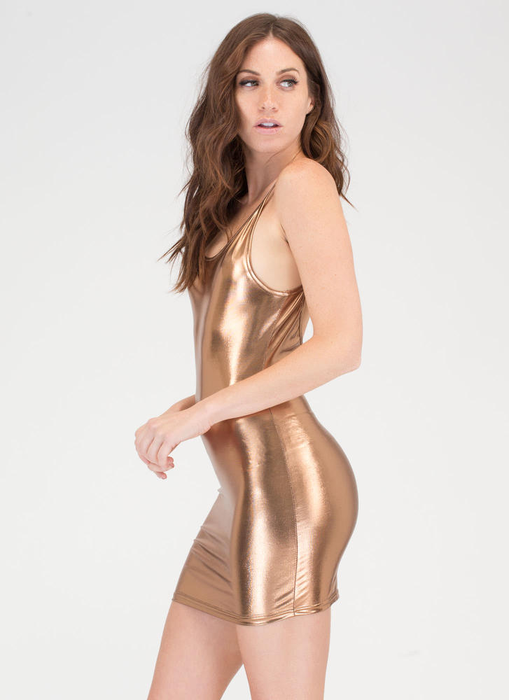 Poured Into My Metallic Minidress COPPER