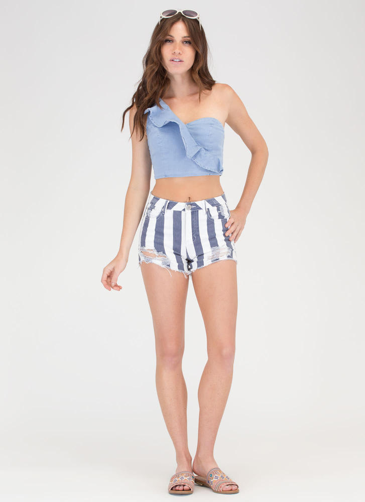 Striped Right Distressed Denim Shorts BLUEWHITE