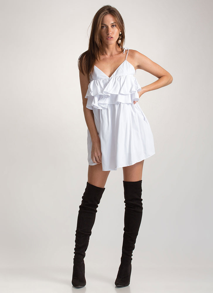 Frill Seeker Tied Babydoll Minidress WHITE