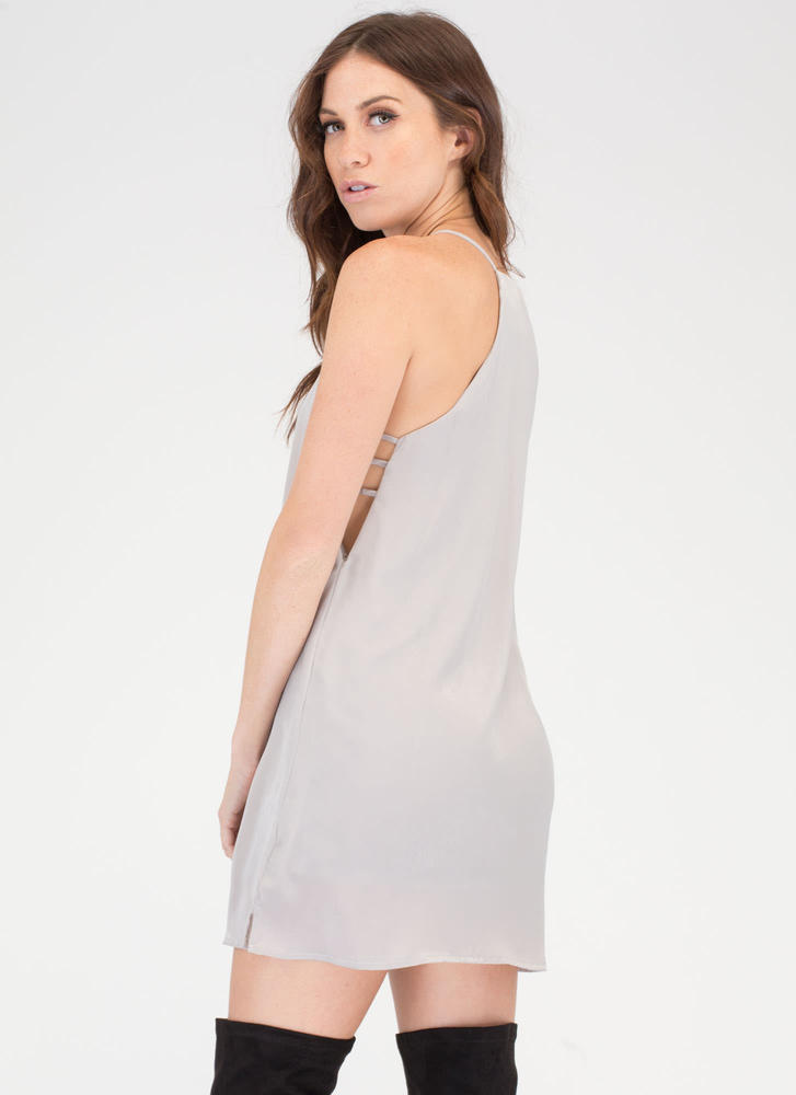 Slip Away Silky Strappy Shift Dress SILVER
