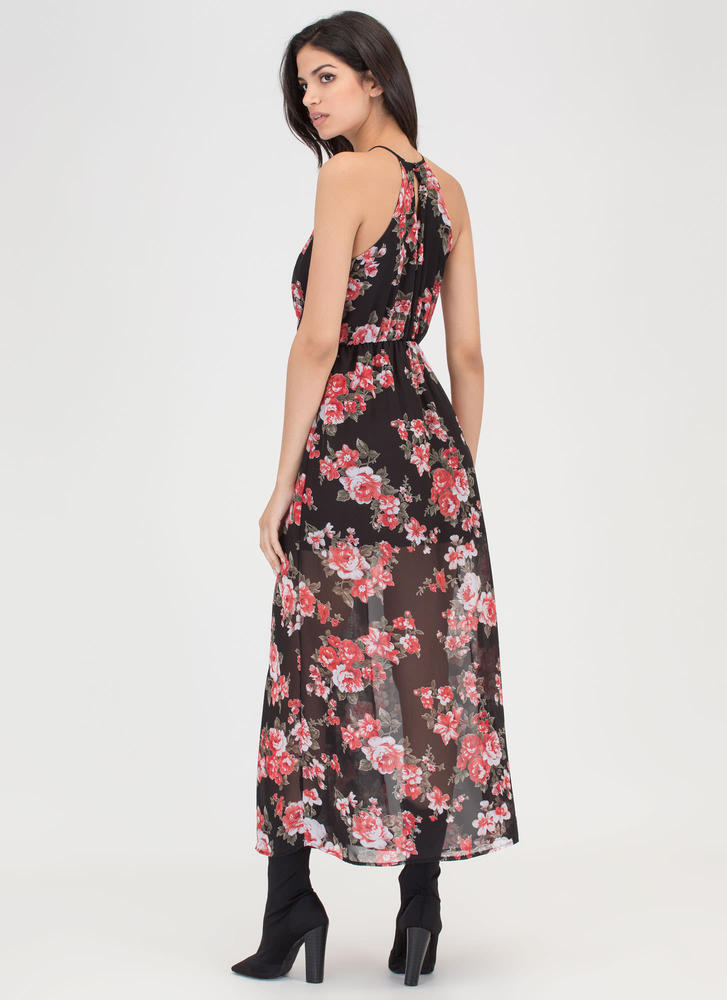 Naturally Charming Sheer Maxi Dress BLACK