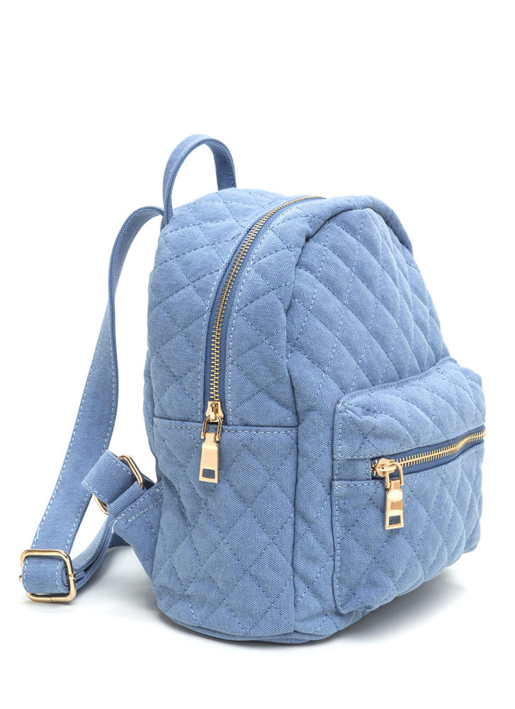 Quilt Trip Canvas Mini Backpack BLUE