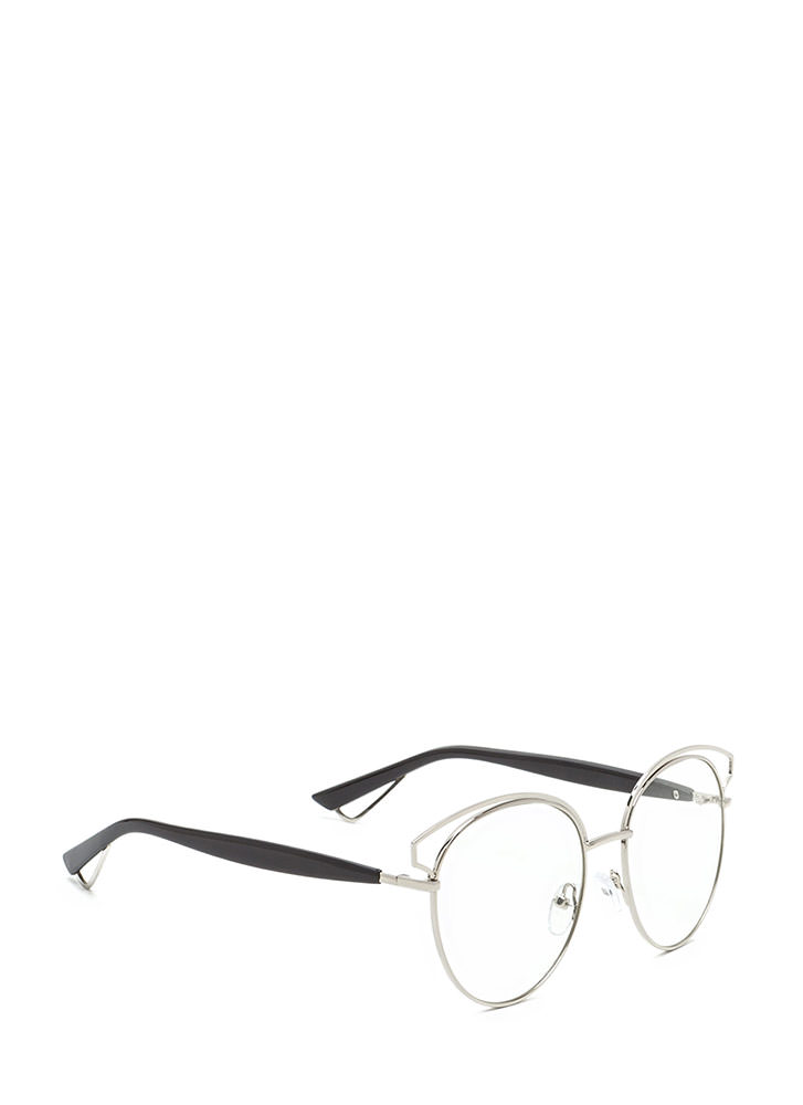 Next Round Clear Retro Glasses SILVER (You Saved $7)