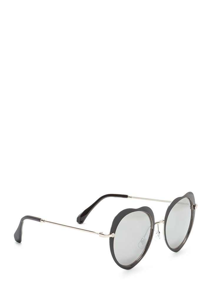 Cross My Heart Mirrored Sunglasses BLACK