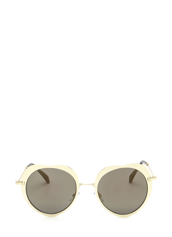 Cross My Heart Mirrored Sunglasses GOLD