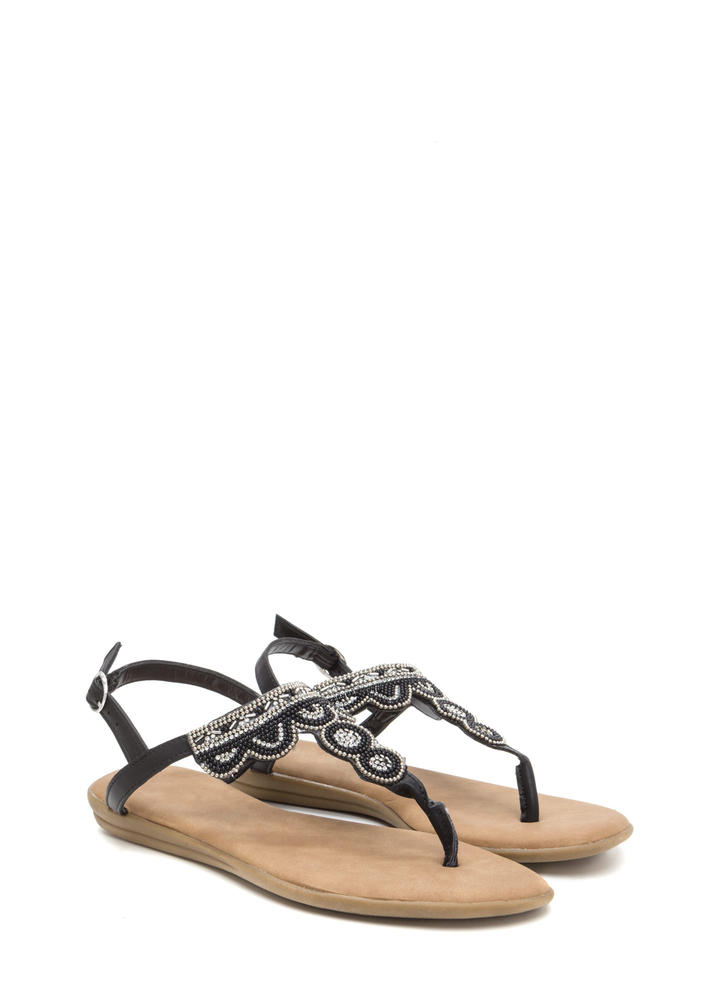 Just Bead It Sparkly T-Strap Sandals BLACK