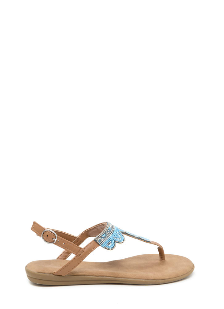 Just Bead It Sparkly T-Strap Sandals TAN