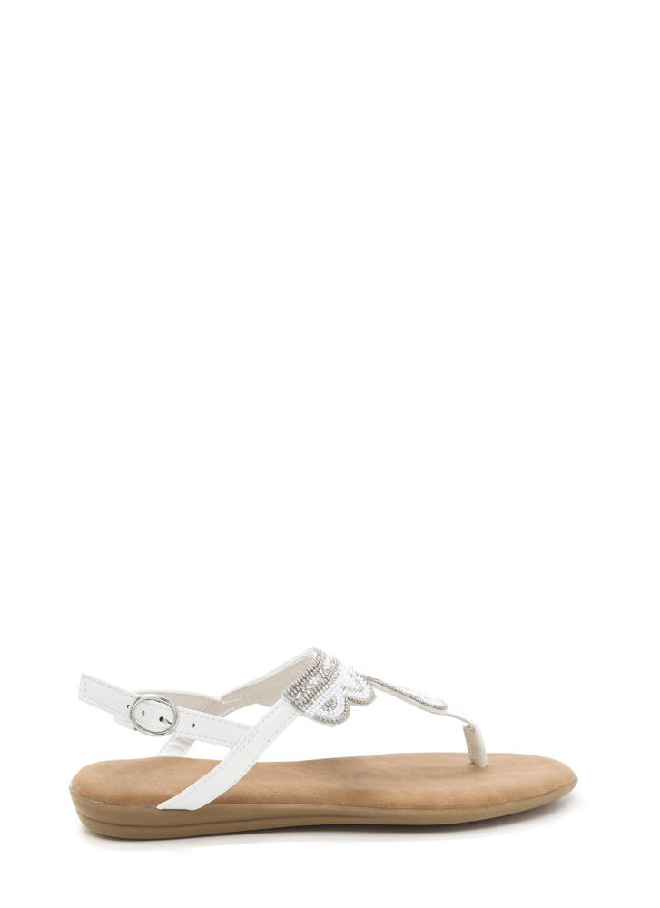 Just Bead It Sparkly T-Strap Sandals WHITE