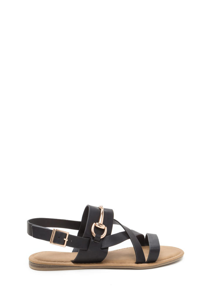 Daily Chic Strappy Faux Leather Sandals BLACK