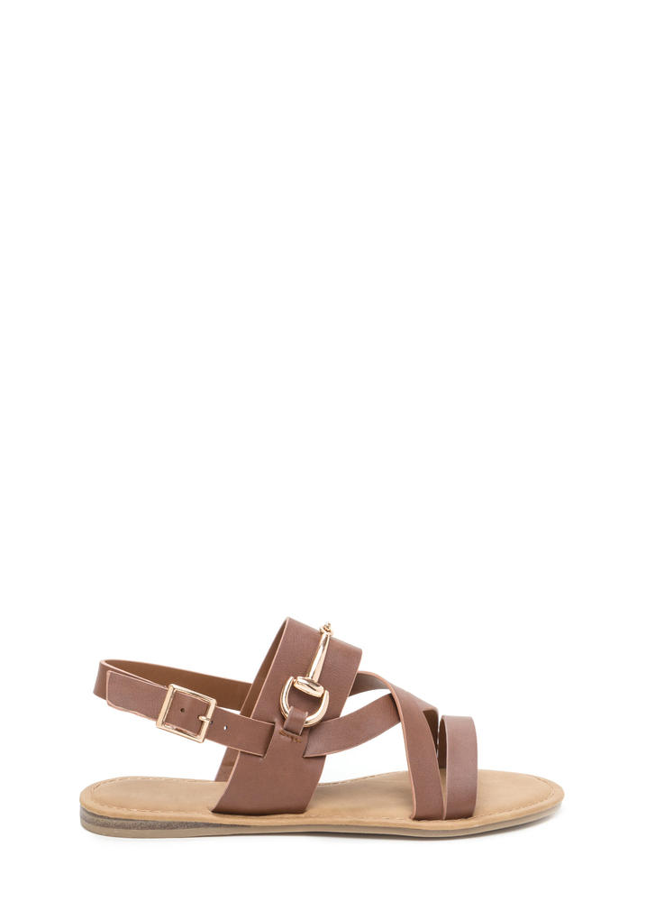 Daily Chic Strappy Faux Leather Sandals CHESTNUT