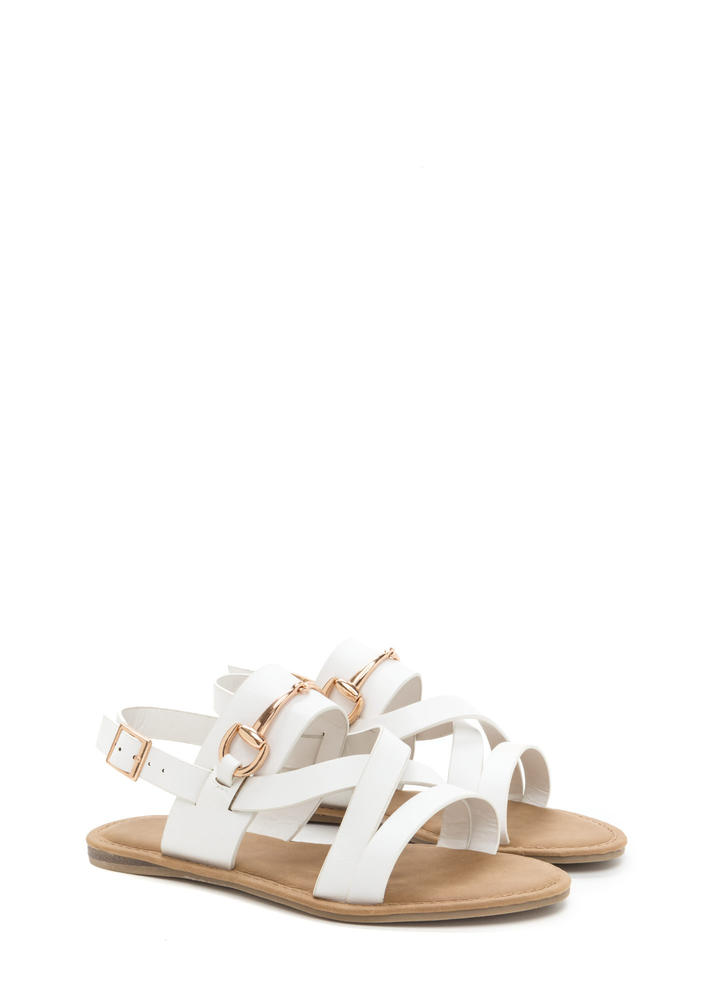 Daily Chic Strappy Faux Leather Sandals WHITE