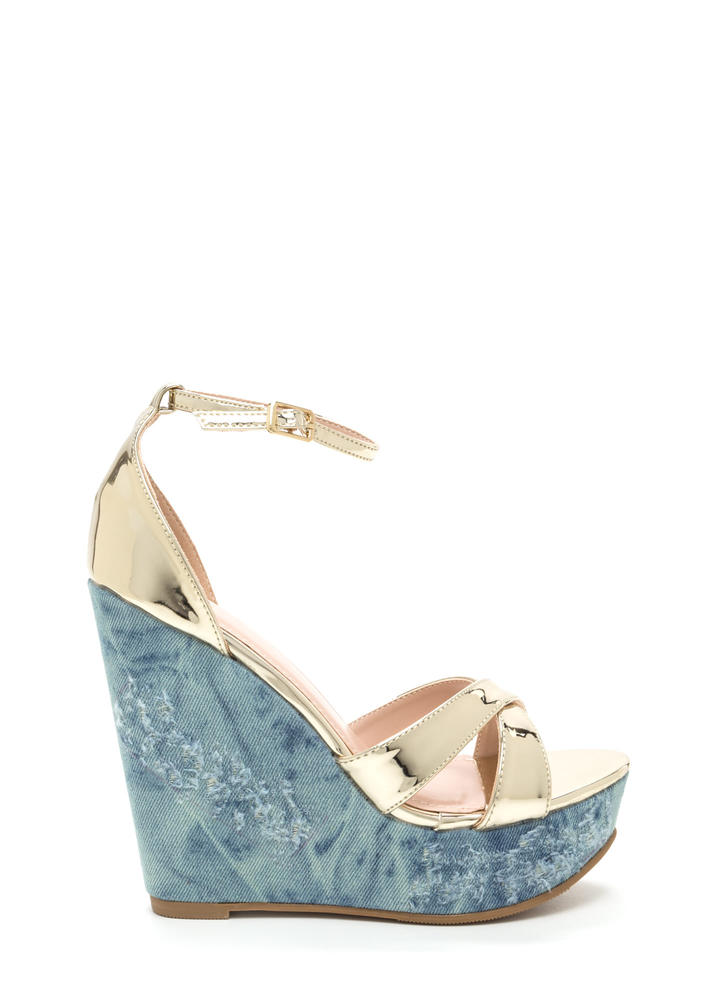 Mix Master Shiny Denim Platform Wedges GOLD