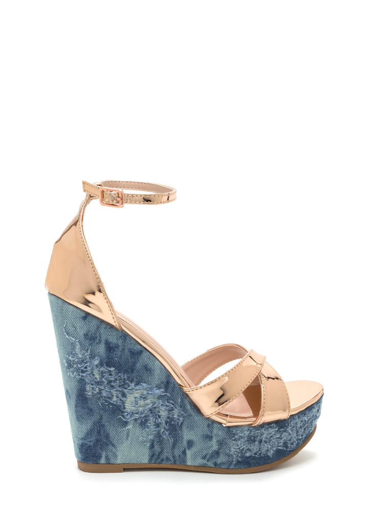 Mix Master Shiny Denim Platform Wedges ROSEGOLD