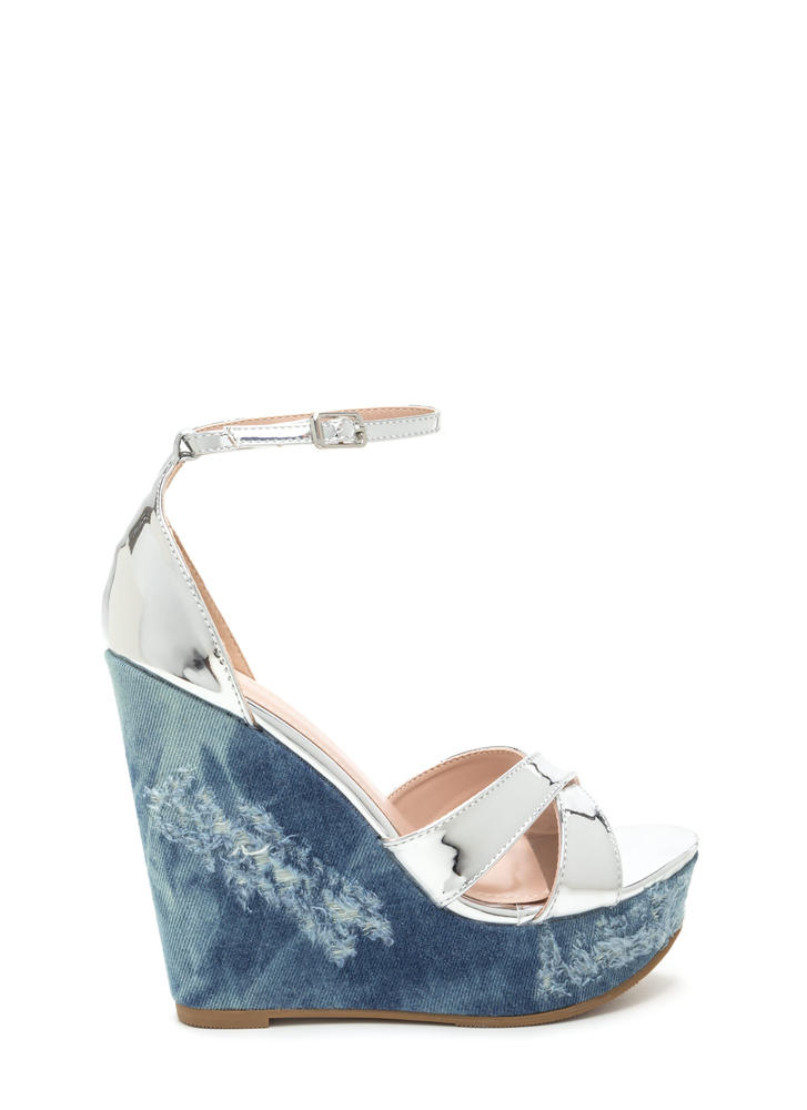 Mix Master Shiny Denim Platform Wedges SILVER