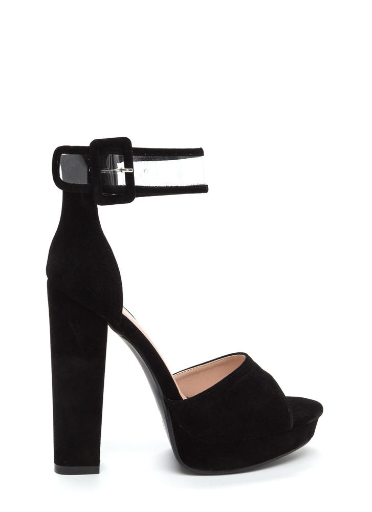 In The Limelight Chunky Faux Suede Heels BLACK