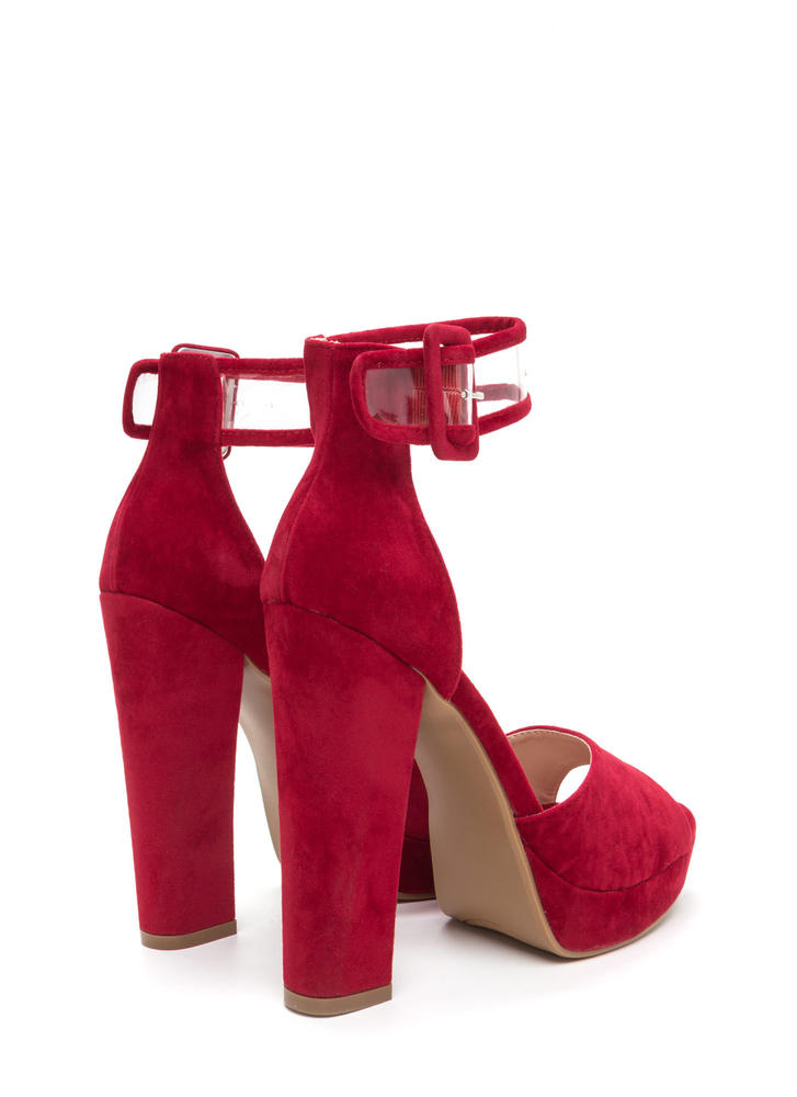 In The Limelight Chunky Faux Suede Heels RED