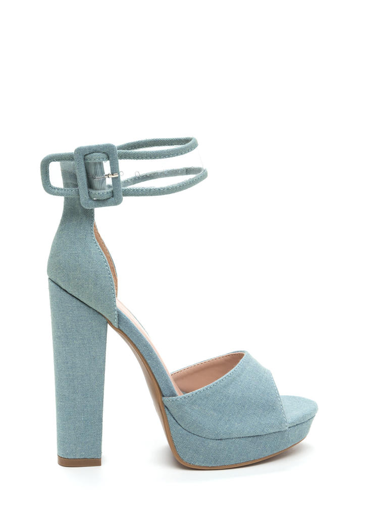 In The Limelight Chunky Denim Heels BLUE
