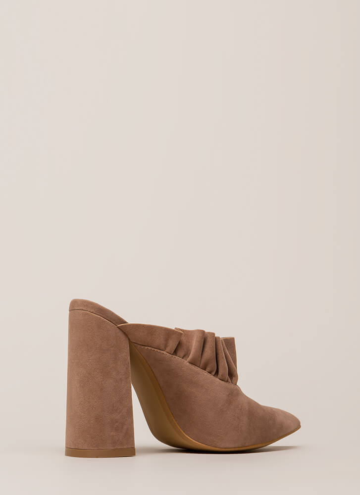 What A Frill Pointy Chunky Mule Heels TAUPE