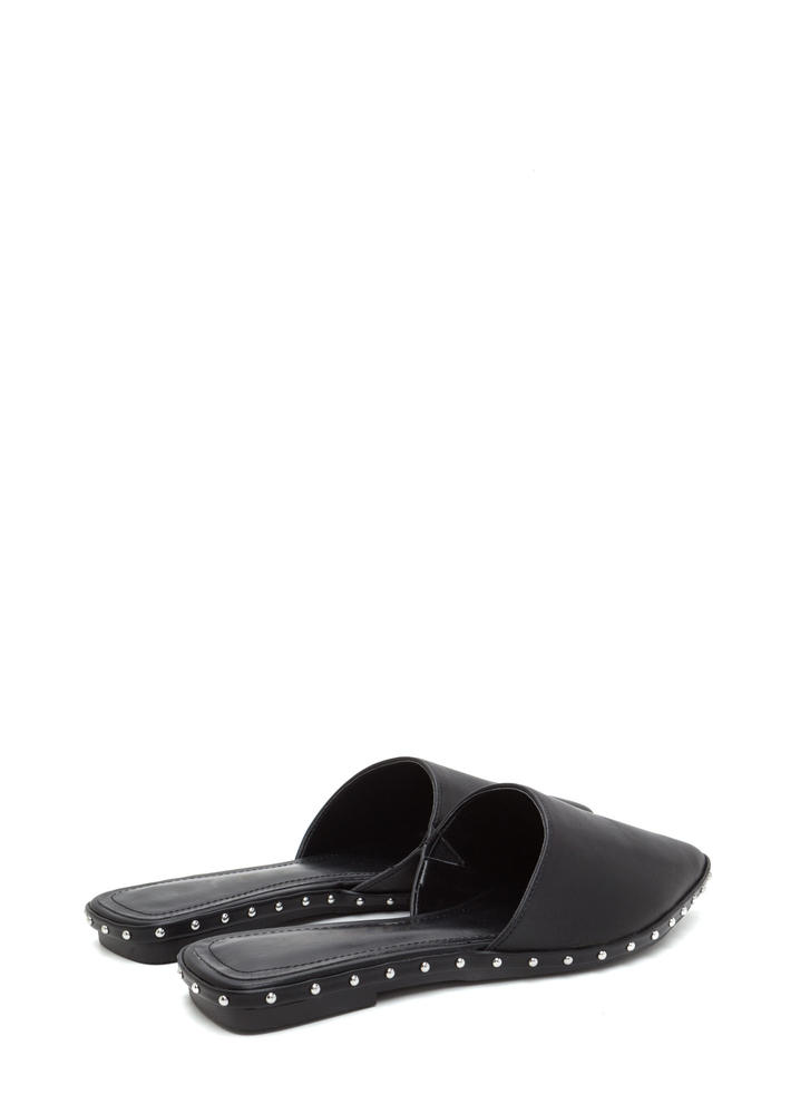 Point Made Studded Mule Flats BLACK