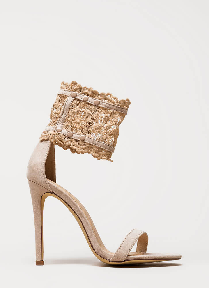 Romance Is Alive Lace Faux Suede Heels NUDE