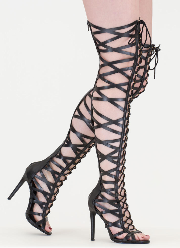 Laced In Faux Leather Thigh-High Boots BLACK