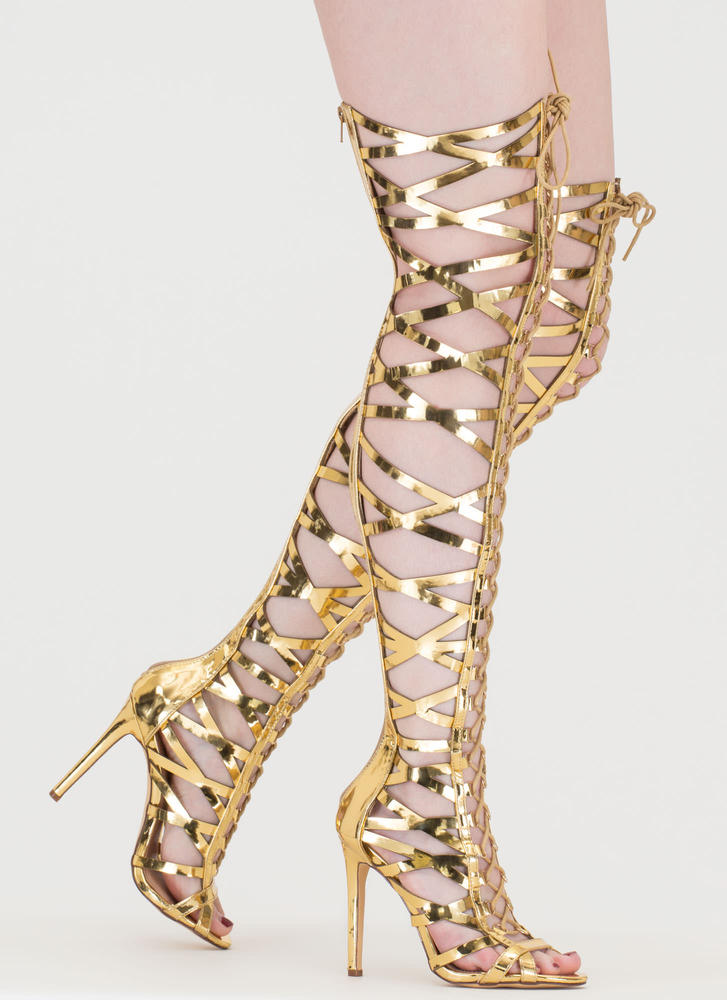 Laced In Metallic Thigh-High Boots GOLD