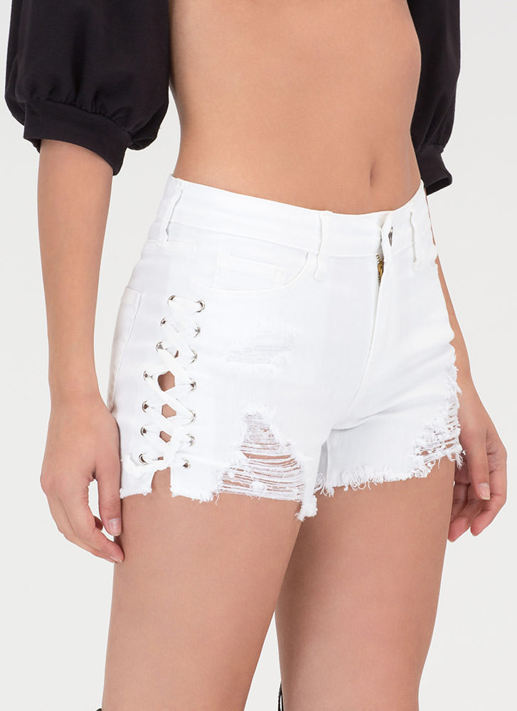 Me And My X's Lace-Up Denim Shorts WHITE