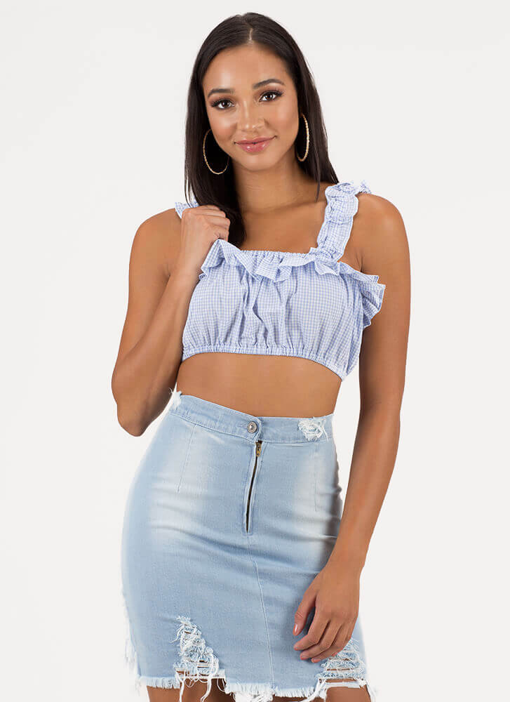Gingham Girl Ruffled Crop Top SKYBLUE