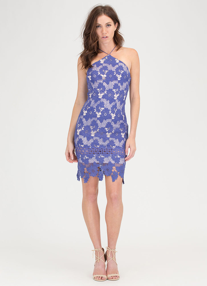 Blossoming Floral Lace Halter Dress BLUE