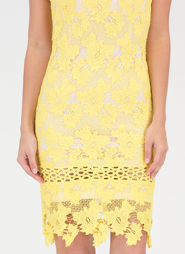 Blossoming Floral Lace Halter Dress YELLOW