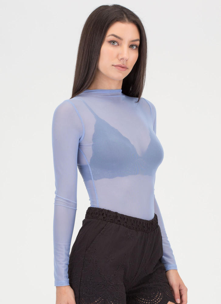 Sheer Me Out Mockneck Crop Top BLUE