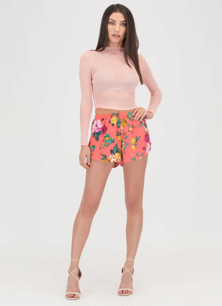 Sheer Me Out Mockneck Crop Top BLUSH