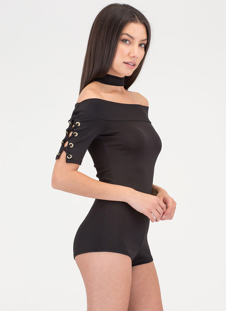 Tied Down Off-Shoulder Romper BLACK