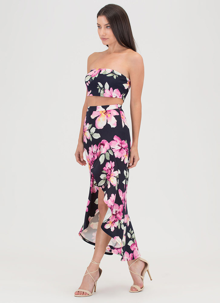 Tropical Oasis Ruffled Two-Piece Dress NAVY