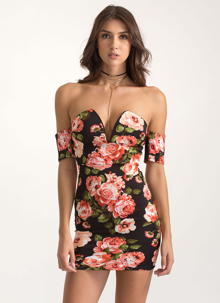 Floral Sweetheart Off-Shoulder Dress BLACK